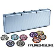 מזוודה לפוקר 500 ז'יטון חימר Poker Club במשקל 13.5 גרם